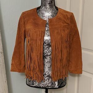 NWT Forever 21 genuine suede fringe jacket